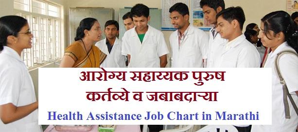 Health Assistant Job Chart in Marathi, आरोग्य सहाय्यक पुरुष कर्तव्ये, आरोग्य सहाय्यक पुरुष जबाबदाऱ्या, Health Assistance Job Chart in Marathi, HA Job Chart in Marathi, arogya sahayyak kame, arogya sahayyak work, arogya sahayyak Job,