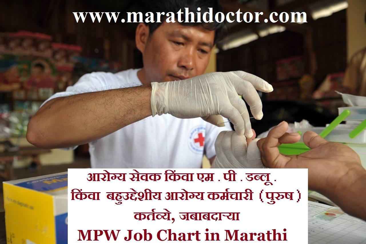 आरोग्य सेवक किंवा एम.पी.डब्लू. बहुउद्देशीय आरोग्य कर्मचारी (पुरुष) कर्तव्ये, जबाबदाऱ्या MPW Job Chart in Marathi